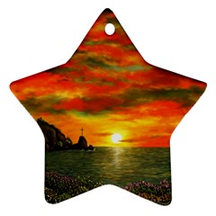 Alyssa s Sunset by Ave Hurley ArtRevu - Star Ornament (Two Sides)