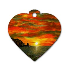 Alyssa s Sunset By Ave Hurley Artrevu   Dog Tag Heart (one Side)