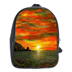 Alyssa s Sunset by Ave Hurley ArtRevu - School Bag (Large)