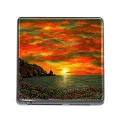 Alyssa s Sunset by Ave Hurley ArtRevu - Memory Card Reader (Square)