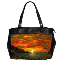 Alyssa s Sunset by Ave Hurley ArtRevu - Oversize Office Handbag (2 Sides)