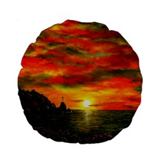 Alyssa s Sunset By Ave Hurley Artrevu   Standard 15  Premium Round Cushion