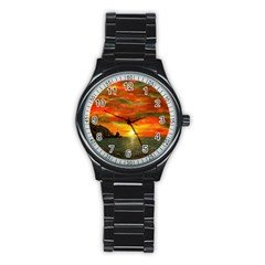 Alyssa s Sunset by Ave Hurley ArtRevu - Stainless Steel Round Watch