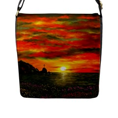 Alyssa s Sunset by Ave Hurley ArtRevu - Flap Closure Messenger Bag (L)