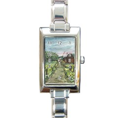 Amish Apple Blossoms  by Ave Hurley of ArtRevu ~ Rectangle Italian Charm Watch