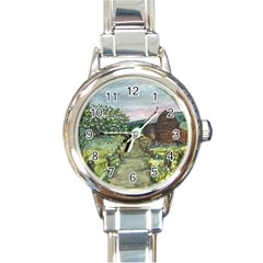 Amish Apple Blossoms  by Ave Hurley of ArtRevu ~ Round Italian Charm Watch