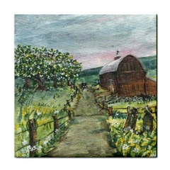Amish Apple Blossoms  by Ave Hurley of ArtRevu ~ Tile Coaster