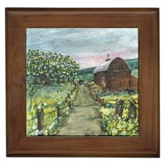 amish Apple Blossoms  By Ave Hurley Of Artrevu   Framed Tile