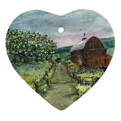 Amish Apple Blossoms  by Ave Hurley of ArtRevu ~ Ornament (Heart)