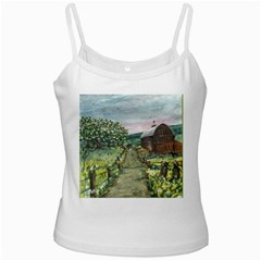 Amish Apple Blossoms  by Ave Hurley of ArtRevu ~ White Spaghetti Tank