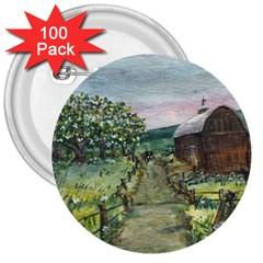 amish Apple Blossoms  By Ave Hurley Of Artrevu   3  Button (100 Pack)