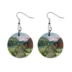Amish Apple Blossoms  by Ave Hurley of ArtRevu ~ 1  Button Earrings