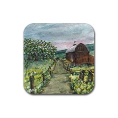 Amish Apple Blossoms  by Ave Hurley of ArtRevu ~ Rubber Square Coaster (4 pack)