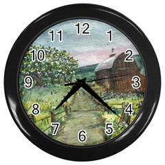 Amish Apple Blossoms  by Ave Hurley of ArtRevu ~ Wall Clock (Black)
