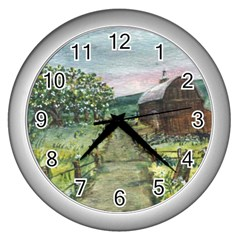 amish Apple Blossoms  By Ave Hurley Of Artrevu   Wall Clock (silver)
