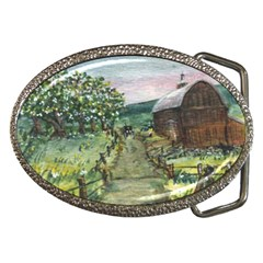 amish Apple Blossoms  By Ave Hurley Of Artrevu   Belt Buckle