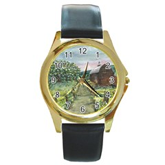 Amish Apple Blossoms  by Ave Hurley of ArtRevu ~ Round Gold Metal Watch