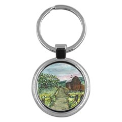 Amish Apple Blossoms  by Ave Hurley of ArtRevu ~ Key Chain (Round)