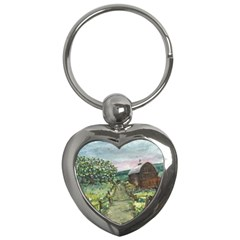 amish Apple Blossoms  By Ave Hurley Of Artrevu   Key Chain (heart)