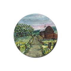 Amish Apple Blossoms  by Ave Hurley of ArtRevu ~ Rubber Round Coaster (4 pack)