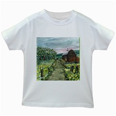 Amish Apple Blossoms  by Ave Hurley of ArtRevu ~ Kids White T-Shirt