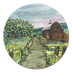 amish Apple Blossoms  By Ave Hurley Of Artrevu   Magnet 5  (round)