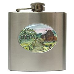 Amish Apple Blossoms  by Ave Hurley of ArtRevu ~ Hip Flask (6 oz)