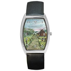 amish Apple Blossoms  By Ave Hurley Of Artrevu   Barrel Style Metal Watch