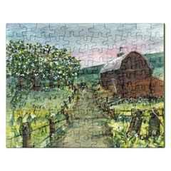 Amish Apple Blossoms  by Ave Hurley of ArtRevu ~ Jigsaw Puzzle (Rectangular)