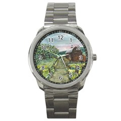 amish Apple Blossoms  By Ave Hurley Of Artrevu   Sport Metal Watch