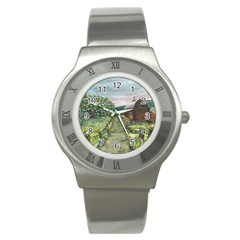 Amish Apple Blossoms  by Ave Hurley of ArtRevu ~ Stainless Steel Watch