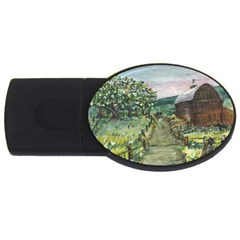 Amish Apple Blossoms  by Ave Hurley of ArtRevu ~ USB Flash Drive Oval (4 GB)
