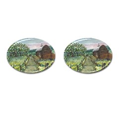 Amish Apple Blossoms  by Ave Hurley of ArtRevu ~ Cufflinks (Oval)
