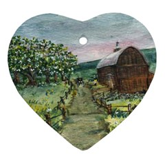 Amish Apple Blossoms  by Ave Hurley of ArtRevu ~ Heart Ornament (Two Sides)