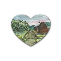 amish Apple Blossoms  By Ave Hurley Of Artrevu   Rubber Heart Coaster (4 Pack)
