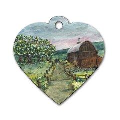amish Apple Blossoms  By Ave Hurley Of Artrevu   Dog Tag Heart (one Side)