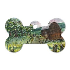 amish Apple Blossoms  By Ave Hurley Of Artrevu   Dog Tag Bone (one Side)