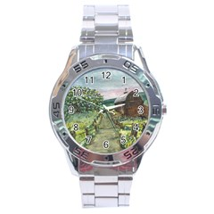 Amish Apple Blossoms  by Ave Hurley of ArtRevu ~ Stainless Steel Analogue Watch