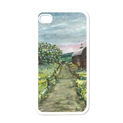 Amish Apple Blossoms  by Ave Hurley of ArtRevu ~ Apple iPhone 4 Case (White)