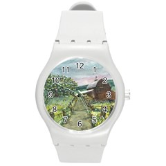 Amish Apple Blossoms  by Ave Hurley of ArtRevu ~ Round Plastic Sport Watch (M)
