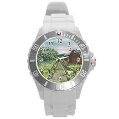 amish Apple Blossoms  By Ave Hurley Of Artrevu   Round Plastic Sport Watch (l)