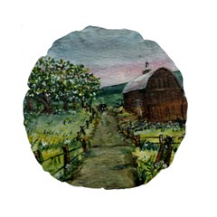 Amish Apple Blossoms  by Ave Hurley of ArtRevu ~ Standard 15  Premium Round Cushion