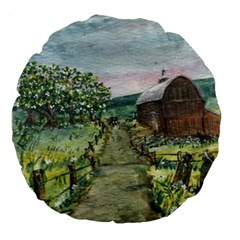 Amish Apple Blossoms  by Ave Hurley of ArtRevu ~ Large 18  Premium Round Cushion