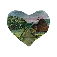 amish Apple Blossoms  By Ave Hurley Of Artrevu   Standard 16  Premium Heart Shape Cushion