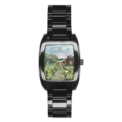 amish Apple Blossoms  By Ave Hurley Of Artrevu   Stainless Steel Barrel Watch