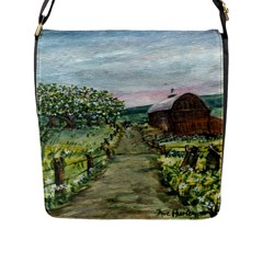 Amish Apple Blossoms  by Ave Hurley of ArtRevu ~ Flap Closure Messenger Bag (L)