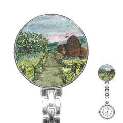 Amish Apple Blossoms  by Ave Hurley -ArtRevu Stainless Steel Nurses Watch