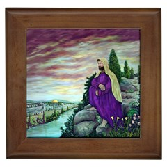 Jesus Overlooking Jerusalem - Ave Hurley - ArtRave - Framed Ceramic Tile