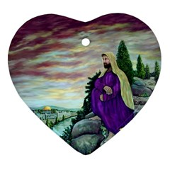 Jesus Overlooking Jerusalem - Ave Hurley - ArtRave - Heart Ornament