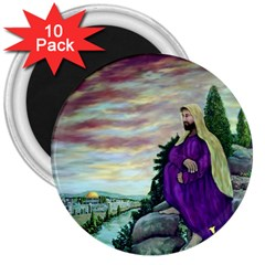 Jesus Overlooking Jerusalem - Ave Hurley - ArtRave - 3  Button Magnet (10 pack)